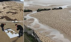 Haunting reminder of millions of lives lost in war as artists stencil 9,000 bodies onto Normandy beach to mark Peace Day