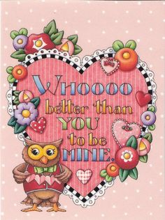 Who Better Than You To Be Mine Owl Fridge Magnet With Mary Engelbreit Artwork