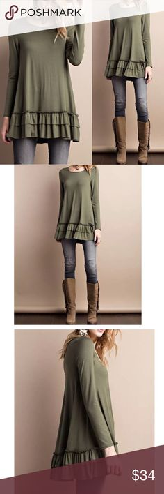 "ARRIVAL! Long sleeve olive round neck tunic top Long sleeve Round neck soft heavy rayon ruffle tunic top  Can be worn as a top itself or under a top for layered look   Color: olive  Fabric: RAYON  Content: 95% RAYON, 5% SPANDEX  Made In: United States  Super soft fabric with stretch  Relaxed fit  MEASUREMENTS:  Small: Armpit to Armpit: 19"" Length: 31""   Medium: Armpit to Armpit: 20"" Length: 31.5""  Large: Armpit to Armpit: 21"" Length: 32"" Pink Peplum Boutique Tops Tunics"