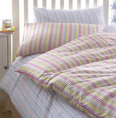 Linen House Little Boutique Cotton Flannelette is ideal for children it keeps them cool in the summer and warm in the winter. the striped bedlinen set features fun stripes in contemporary colours. Perfect for snuggling into bed.