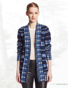 BCBGMAXAZRIA Women's Amur Cotton-Knit Drape-Front Cardigan Sweater