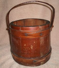 Vintage Antique Wooden Firkin Sugar Bucket Pantry Bucket