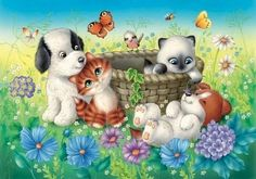 Animal illustrations, children's book illustration, puppies and kittie Cute Animals Images, Cute Animal Videos, Cute Baby Animals, Animals And Pets, Puppies And Kitties, Cats And Kittens, Dogs, Kittens Cutest, Cute Cats