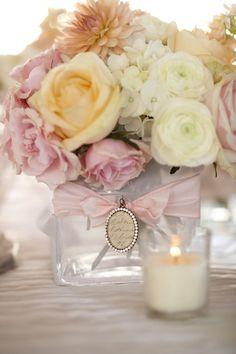 soft romantic cameo wedding centerpiece
