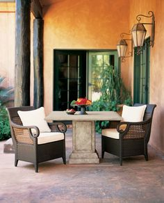 i love the idea of a covered porch with chairs and tables and foliage looking out onto a garden, especially if it's Hacienda style Indoor Outdoor Furniture, Outdoor Spaces, Outdoor Living, Corner Furniture, Unique Furniture, Rustic Furniture, Rustic Patio, Square Dining Tables, Floor Decor