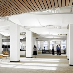 Climate Works | Sculptural Ceiling Elements // to abstractly evoke natural ideas to enliven the space the architect designed 44 framed fabric feature sculptural ceiling elements that resemble cloud and dragon fly shapes // Ceilings Engineered Fabricated Recycled Textile