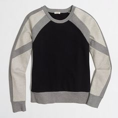 J. Crew Factory Colorblock Sweater, Black/Gray. Perfect for cool summer CA nights or cross-country plane rides.