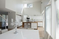 Modern glossy white kitchen and dining table