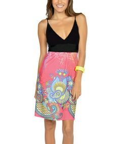 Loving this Neon Pink & Black V-Neck Dress on #zulily! #zulilyfinds