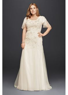 Plus Size Modest Wedding Dress with Floral Lace 8SLMS251111