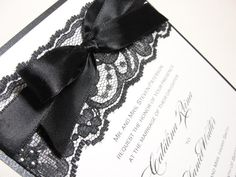 Bow and Lace Wedding Invitations...different colors, but I love the concept!