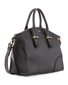 Alexander McQueen  Legend Leather Zip Satchel Bag, Black