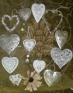 Hanging decoration. Silver/white/cream. Wedding/christmas tree. Shabby and chic | eBay