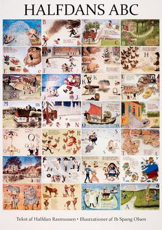 ABC Halfdan Rasmussens - Ib Spang Olsen 50 x 70 cm Danish Christmas, Abc Poster, Some Beautiful Images, Learning The Alphabet, Color Card, Olsen, Book Illustration, Vintage Posters, Illustrators
