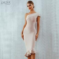 Adyce 18 New Summer Women Bandage Dress Vestidos One Shoulder Sleeveless  Ruffles Nightclub Dress Celebrity Evening Party Dress a13a64c05a7d