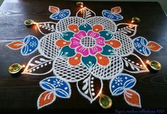 Galary Rangoli Designs Flower, Rangoli Ideas, Beautiful Rangoli Designs, Kolam Designs, Flower Garlands, Flower Decorations, Rangoli Colours, Diwali Rangoli, Floor Art