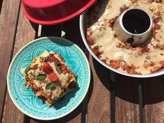 #omnia #vegan #lasagne vegane Lasagne aus dem Omnia-Camping-Backofen