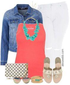 Plus Size Summer Coral Outfit - Plus Size Summer Outfit - Plus Size White Jeans - Plus Size Fashion for Women - alexawebb.com #alexawebb