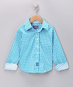Take a look at this Teal Gingham Button-Up - Infant, Toddler & Boys on zulily today!