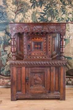 17th century small oak livery cupboard, Marhamchurch antiques