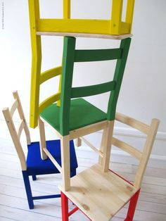'Ivar' pine chairs half painted in brilliant basic colours!