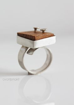 Unique handmade silver organic ring with wood by notAjewelry, $81.00