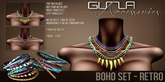 GizzA - Boho Sets. Mesh Necklaces & Bracelets jewelry that is colorful and casual, with beading and (shark)teeth dangling loosely.