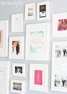 how to arrange a gallery wall. Like the white.