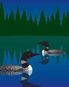 Loons, 8 x 10 Fine Art Print Waterfowl Birds Black and White Lake Pond Summer Night blue Green Forest Evergreens Woodland Framed Art Prints, Fine Art Prints, Duck Art, Lake Art, Organic Art, Rustic Wall Art, Landscape Quilts, Woodland Animals, Bird Art