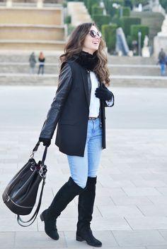 Cómo combinar botas altas negras en tu look