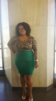 Leopard print top with green pencil skirt  Plus size fashion Plus size blogger Fashion blogger