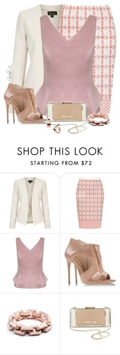 """""""Patterned Pencil Skirt"""" by carolinez1 ❤ liked on Polyvore featuring Topshop, Minuet Petite, Casadei, Eddie Borgo, Banana Republic and Skagen"""
