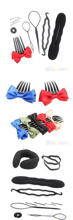 Wholesale One Set Fashion Hair Style Styling Tool Roller Curler Shape Bun Make Twist Comb Pin 02DG 3DZV Cosmetic Tools