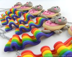 Nyan Cat Necklace Internet Meme Polymer Clay Geek by OlechkaDesign, $24.00
