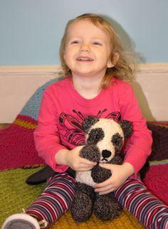 Loom Knit Panda Bear. Free pattern.