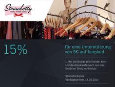 Bei StrawBetty gibt es schöne Retro-Kleider, freche Rockabilly-Outfits und elegante Swing-Kleider in vielen Varianten. Bei einer 5€ Unterstützung bekommt ihr einen 15% Gutschein, den ihr im Berliner Shop einlösen könnt.  http://www.fairplaid.org/Gutscheine/Gutschein-Detail/vid/89 #fairplaid #mehrsportfueralle