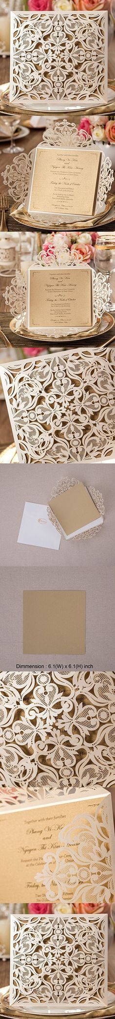 Wishmade 1 Piece Square White Lace Flower Pattern Laser Cut Wedding Invitations Kits Set With Cards for Birthday Bridal Shower Marriage Engagement Floral with Envelopes Seals Party Favors