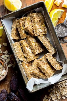 Lemon, almonds, chia and crystallized ginger come together in these simple Lemon Ginger Chia No Bake Snack Bars. They are naturally sweetened with Medjool dates and honey and have a gluten free version. Healthy Seasonal Recipes | Katie Webster