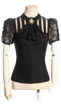 Melisandre Black Stripe Blouse with Jabot by RQBL | Ladies