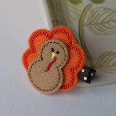 Felt Turkey Hair Clip Thanksgiving Hair Bow by MyLittlePixies