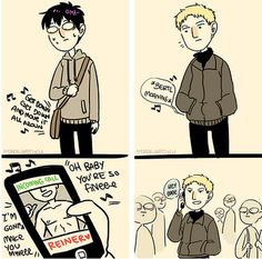 So I have this modern AU where Reiner and Bertholdt just have embarrassing ring tunes set up for each other and it's amazing