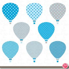 Hot Air Balloons Digital Clip Art Set  Colorful hot by YenzArtHaut, $3.00