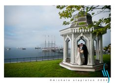 Gazebo next to the Bar Harbor Inn, Maine, one of the places to get married in the Acadia National Park Region, wonderful location overlooking the harbor and islands.  Photo by Michele Stapleton of MaineWeddingPhotographer.com   See also https://www.facebook.com/WhereToGetMarriedInMaine