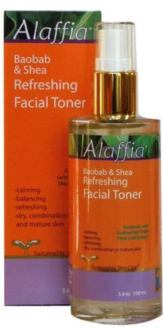Alaffia - Shea & Baobab Refreshing Facial Toner, 3.4 fl oz liquid by Alaffia. $13.45. Does Not Contain: Gluten Free, No Parabens, No Synthetic Fragrance, No Animal Testing. As the ultimate step in the cleansing process, daily refreshing toner gently balances your skin's own chemistry while removing impurities and toning pores. Baobab fruit, shea leaf and witch-hazel extracts gently tighten pores, while green tea extract provides protection against skin damaging...
