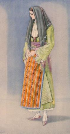 NICOLAS SPERLING Peasant Woman's Dress (Macedonia, Chalcidice) 1930 lithograph on paper after original watercolour Greek Traditional Dress, Traditional Fashion, Traditional Outfits, Macedonia, Ancient Greek Costumes, Greek Dancing, Greek Dress, Folk Dance, Costume Collection