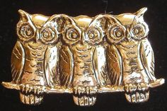 3 Owls in a Row 24 Karat Gold Plate Tack Pin Owl TG007 by NostalgicCharm on Etsy