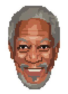 Morgan Freeman Pixel Portrait Art Print
