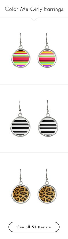 """Color Me Girly Earrings"" by colormegirly ❤ liked on Polyvore featuring stripe, multicolor, jewelry, earrings, white and black earrings, black and white earrings, black white jewelry, geometric earrings, earring jewelry and leopard print jewelry"