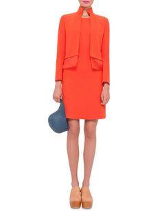 Long-Sleeve Layered-Hem Jacket & Sleeveless Round-Neck Sheath Dress, Zinnia by Akris at Neiman Marcus.