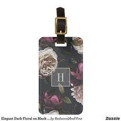 Elegant Dark Floral on Black Monogram Bag Tag Personalized Luggage Tags, Custom Luggage Tags, Burgundy Flowers, Plum Purple, Ivory Roses, Luggage Straps, Standard Business Card Size, Leather Luggage, Monogram Initials